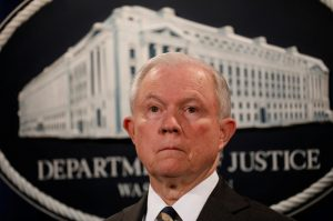 U.S. Attorney General Jeff Sessions looks during a news conference announcing the outcome of the national health care fraud takedown at the Justice Department in Washington