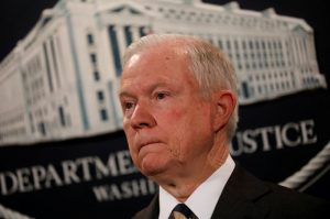 U.S. Attorney General Jeff Sessions looks during a press conference announcing the outcome of the national health care fraud takedown at the Justice Department in Washington